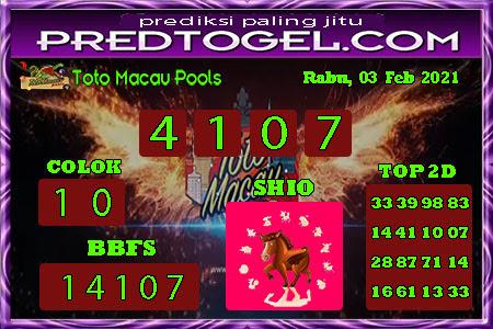 Pred Macau Rabu 03 Februari 2021