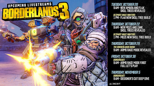 bordercast livestream schedule twitch borderlands 3 season pass 2 dlc reveal release date november 10 gearbox software 2K games pc ps4 xb1 action role-playing first-person shooter game