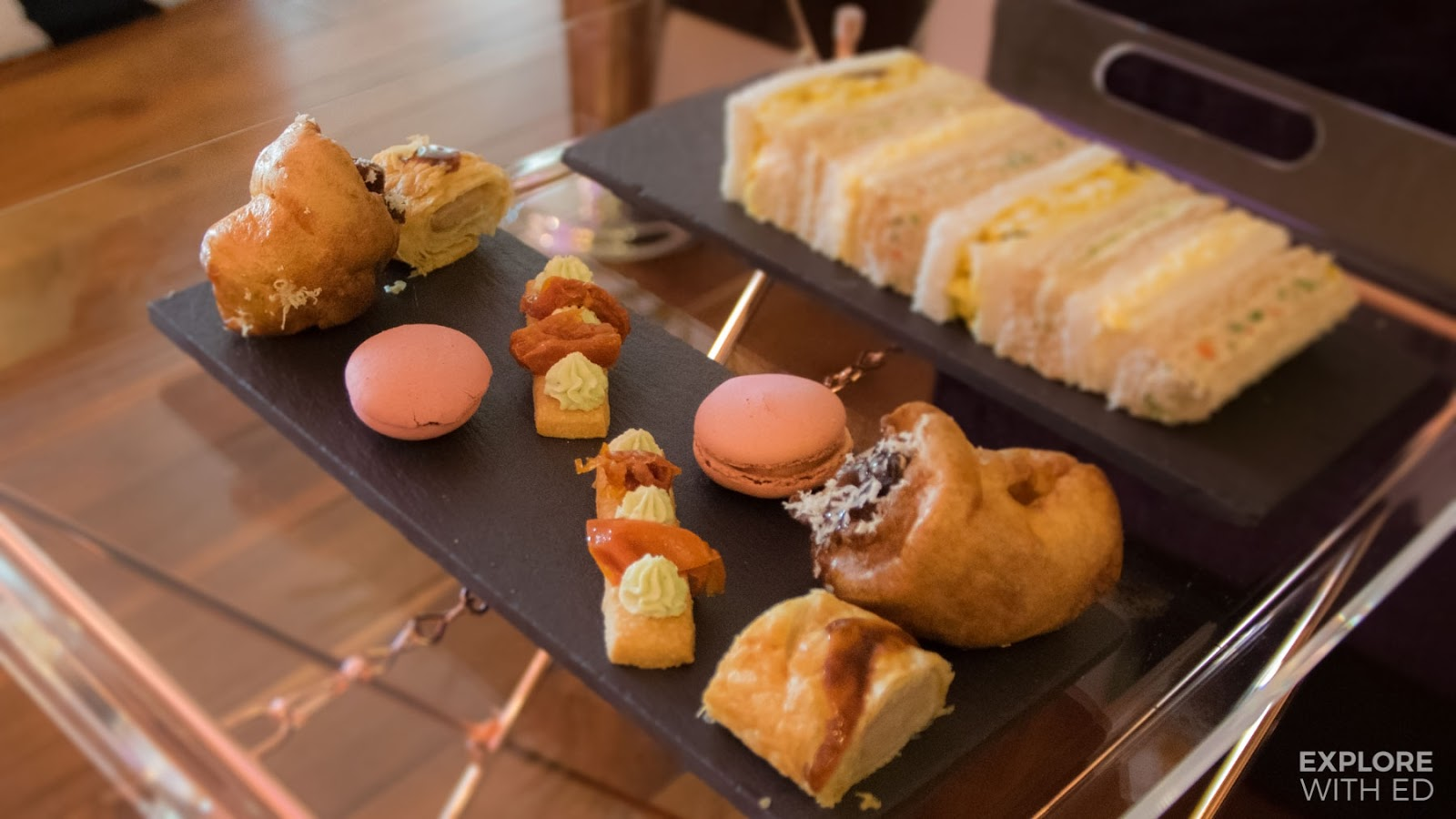 The sublime savouries on slate, first course of Mulberry Bar Afternoon Tea