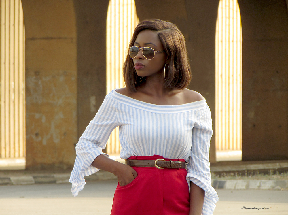 off shoulder trend, stripes, flared sleeves, colour blocking