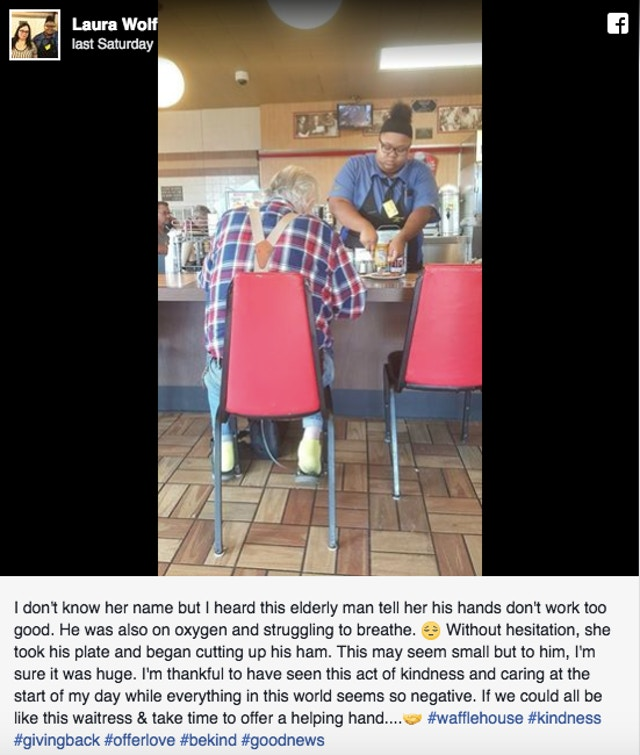 This waitress was just quietly doing the right thing  A