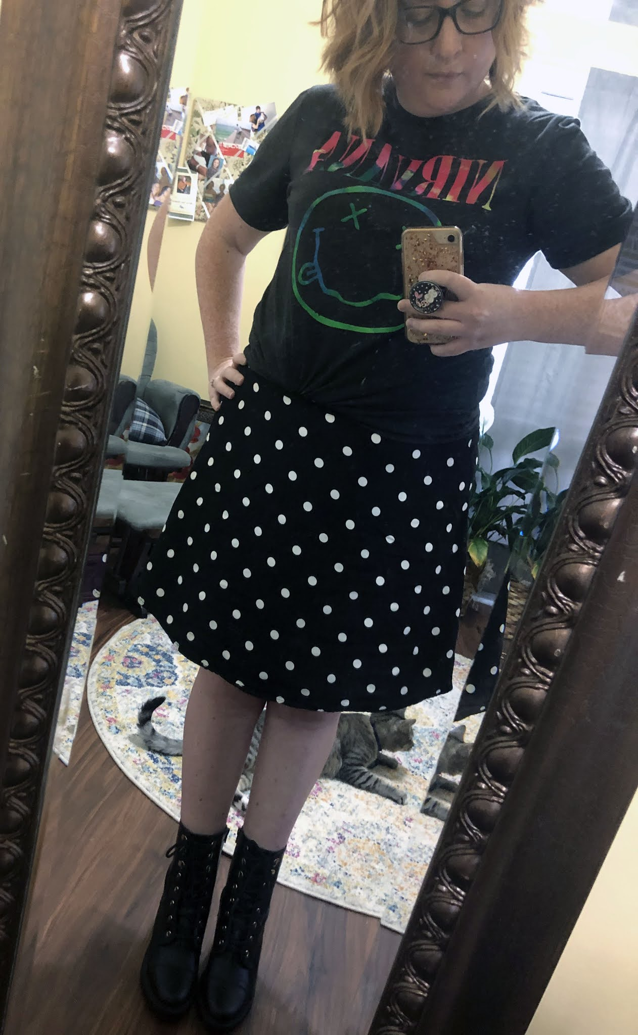 nirvana tee polka dot skirt