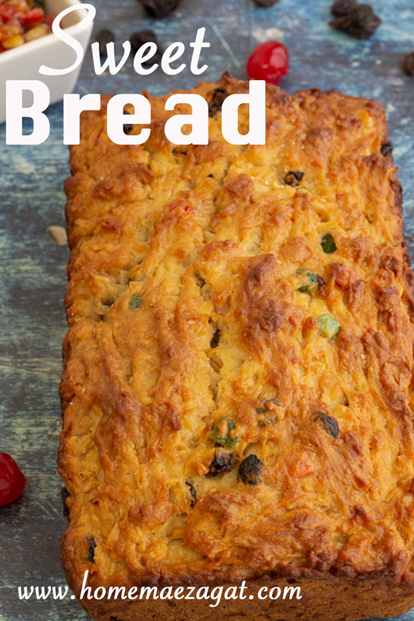 Loaf of sweet bread with title overalay