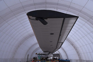 Wingtip view of the port side of the Solar Impulse 2