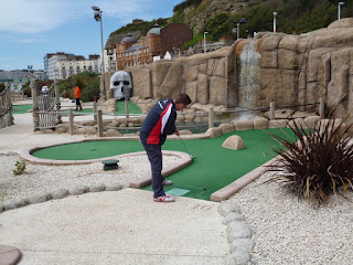 In action on hole 10 of the Pirate Adventure Golf course in Hastings