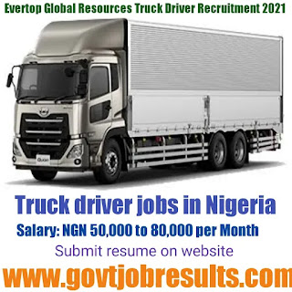 Evertop Global resources Truck driver recruitment 2021