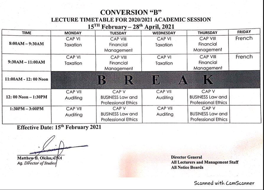 NCA Kwall (ANAN) Lecture Timetable for PEB & Conversion 'B' 2020/2021