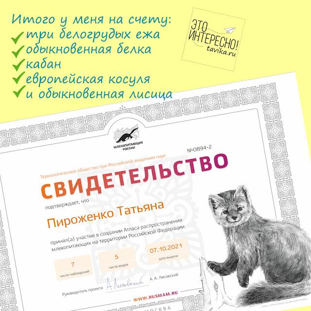 Свидетельство о принятии участия в составлении Атласа млекопитающих России