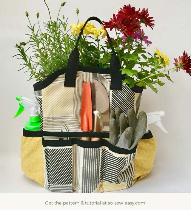 Learn how to make a Gardening Tool Bag. Pattern & tutorial by So Sew Easy