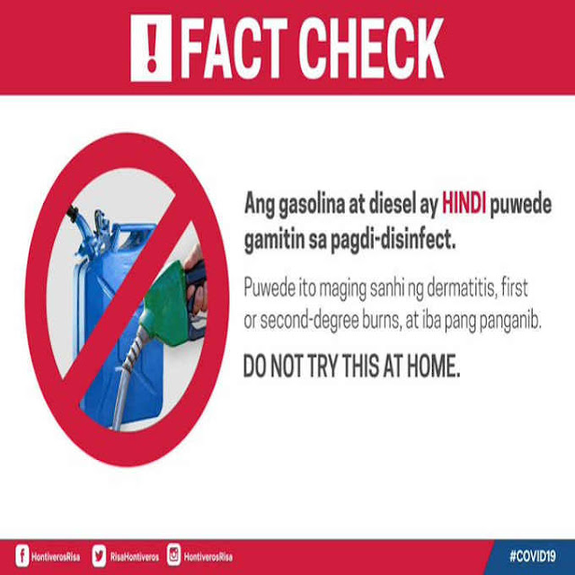 Ang gasolina ay hindi pwede gamitin sa pagdi-disifect