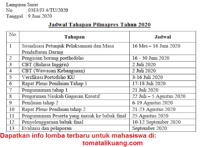 jadwal pilmapres tahun 2020; tomatalikuang.com