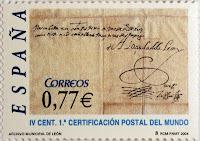 IV CENTENARIO DE LA PRIMERA CERTIFICACIÓN POSTAL DEL MUNDO