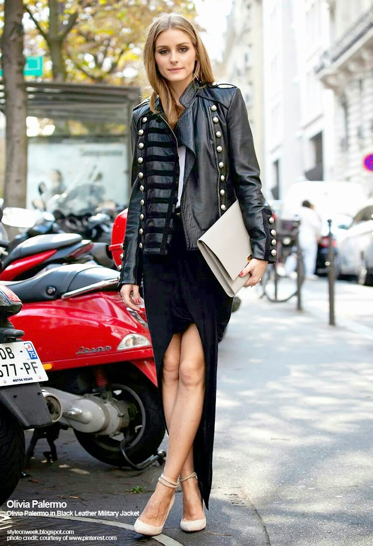 Celebrity Street Style - Olivia Palermo in Black Leather Military Jacket