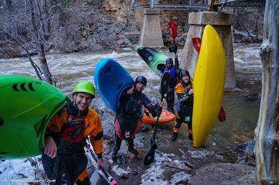 A motley and slightly chilly crew at the take out , kayak sedona pump house wash, sedona flag staff arizona WhereIsBaer.com Chris Baer