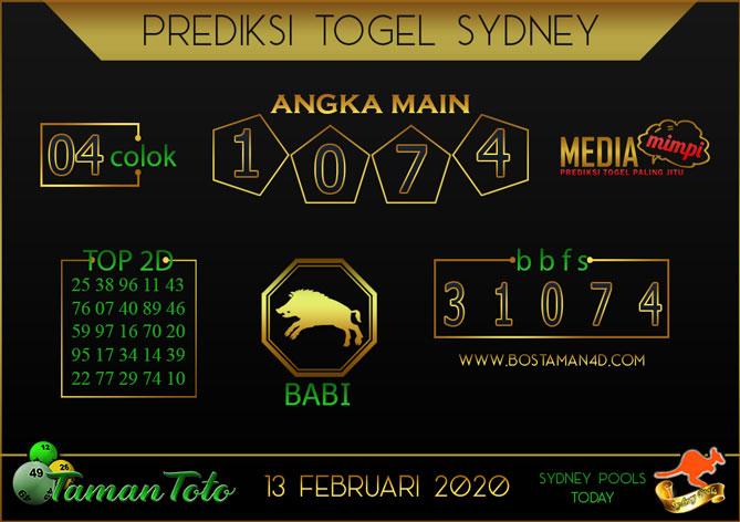 Prediksi Togel SYDNEY TAMAN TOTO 13 FEBRUARY 2020