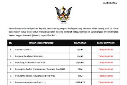 Jawatan Kosong Kerajaan di Suruhanjaya Perkhidmatan Awam Negeri Sarawak (SPANS) | Tarikh Tutup : 25 November 2019