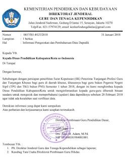 PENTING! Surat Edaran Terkait Persiapan Penerbitan SK Tunjangan Guru Semester I Tahun 2018
