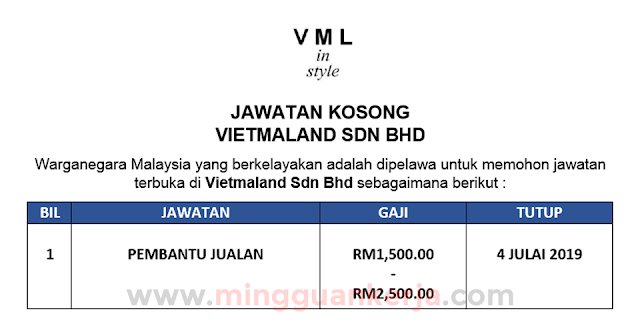 Pembantu Jualan - Vietmaland Sdn Bhd