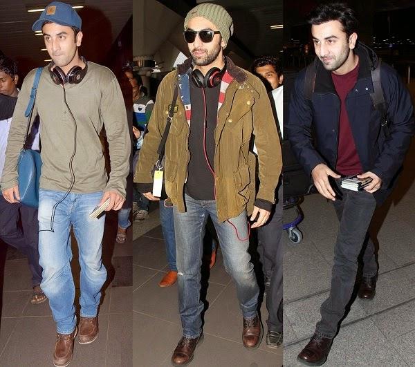 Ranbir kapoor dashing airport style