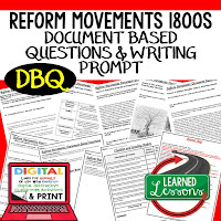 Reform Movements 1800s DBQ, Early American History DBQ, DBQ Document Based Question Writing Activity, American History Activities