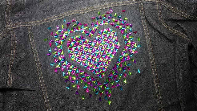The Exploding Heart quilt made with hot fix crystals onto a denim jacket