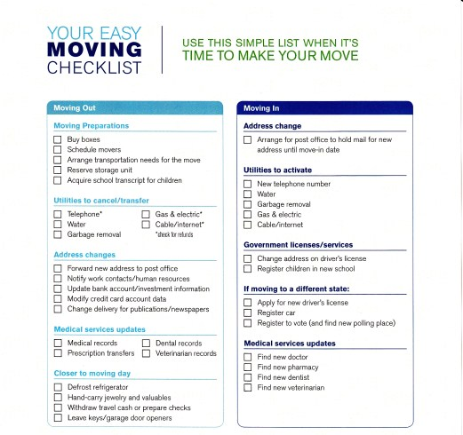 simple moving checklist template excel