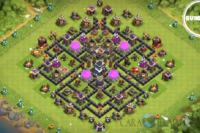 Base Trophy TH 9 COC Update Bomb Tower Terbaru 2017 Tipe 14