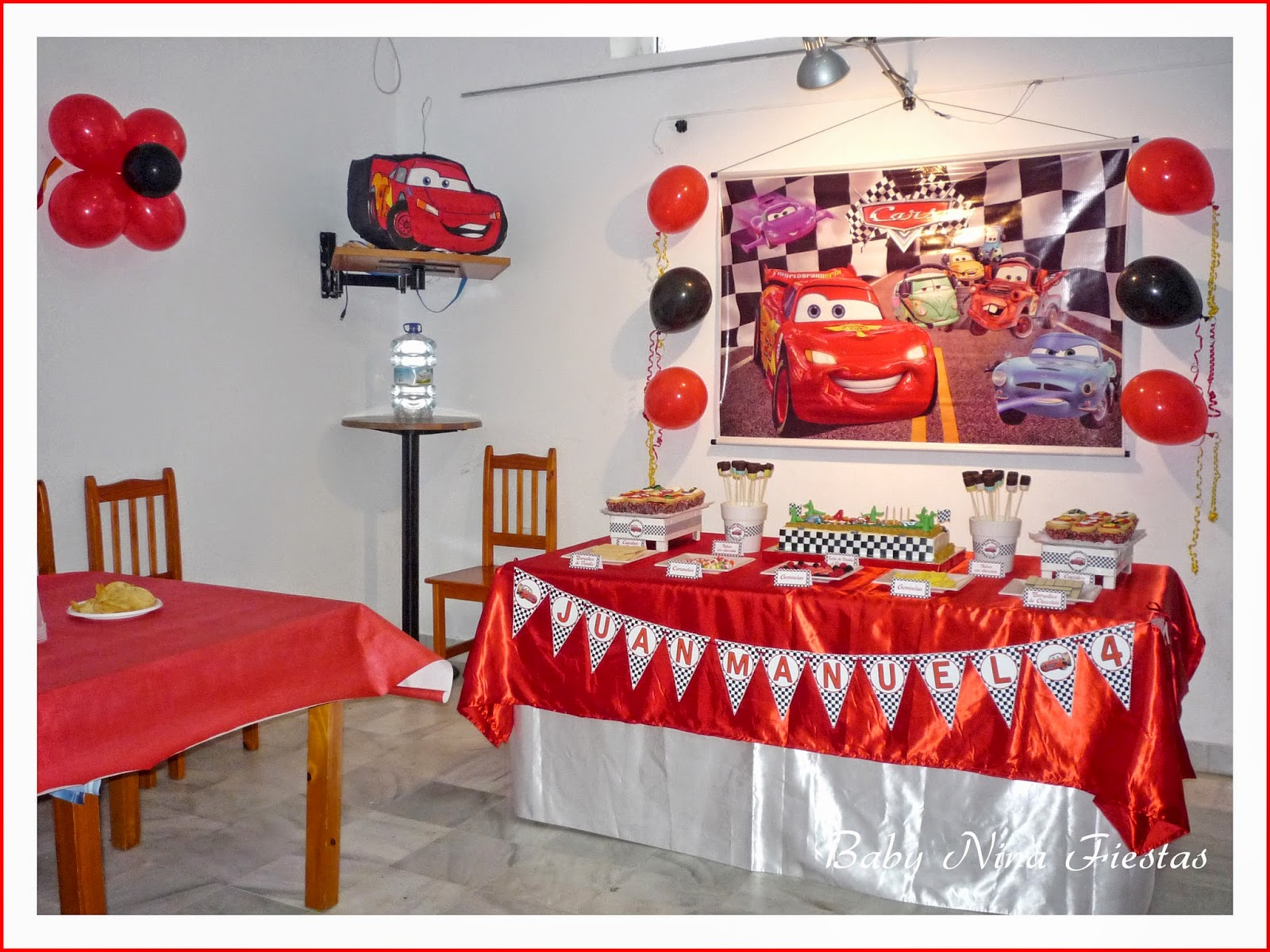 Decoración, mesa dulce cars