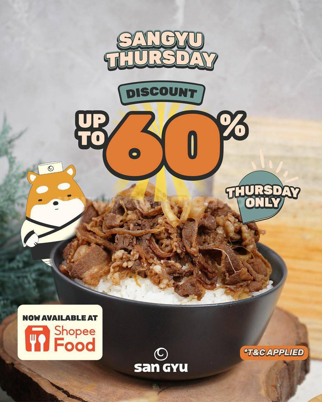 San Gyu Promo Thursday Diskon sd 60% via ShopeeFood
