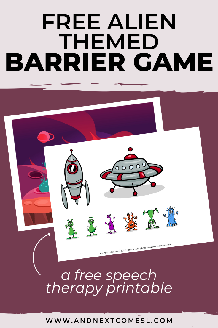 Free speech therapy barrier game: alien themed