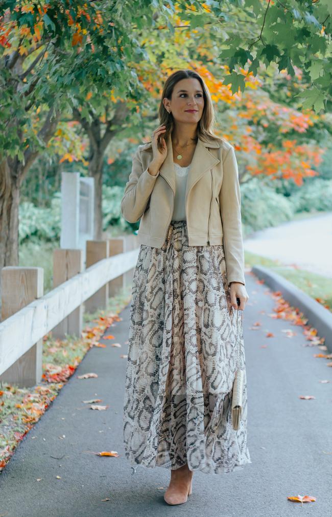 Long Snake Print Skirt