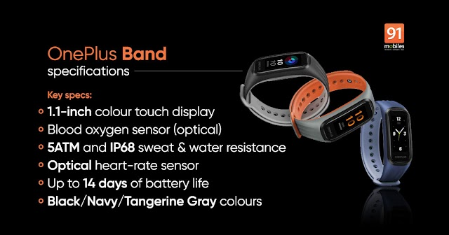 Super OnePlus Band watch Smart Everywear : 1.1 AMOLED Display, Dual-Color Band Design, Continuous Blood Oxygen Saturation Monitoring (Sp02), 5ATM + IP68 Water & Dust Resistant