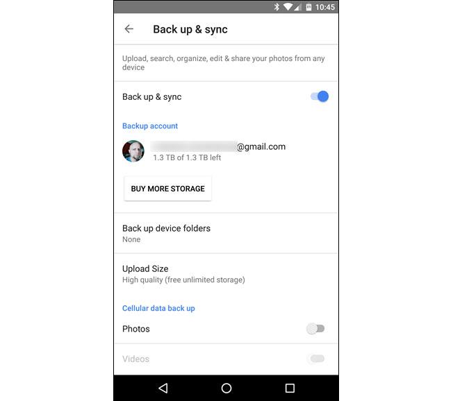 زيادة المساحة على هاتف Android google drive