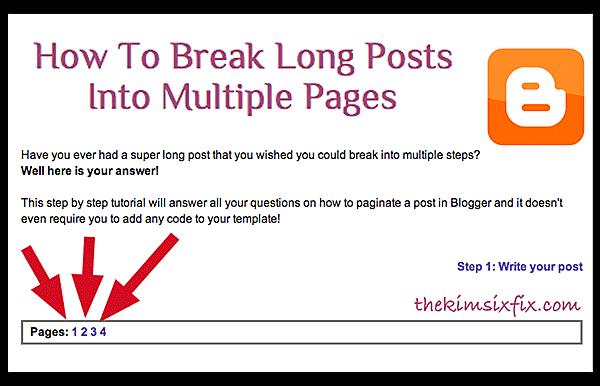 Cara Membuat Postingan Blog Menjadi Beberapa Halaman (Multiple Pages for Blogger)
