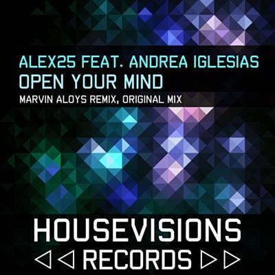 Mosaico de formas de rombos de colores verdes, azules y violetas. Un texto dice ALEX25 feat. Andrea Iglesias. Open Your Mind