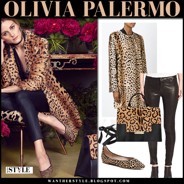 Olivia Palermo in leopard print yves salomon coat and black pants paige denim in aerin ad campaign 2016 what she wore