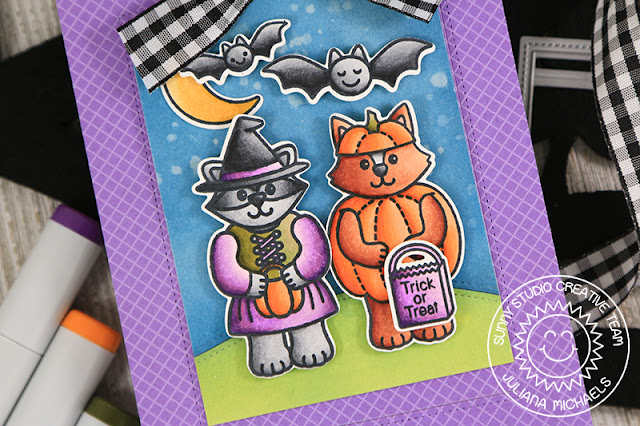 Sunny Studio Stamps: Sliding Window Halloween Cuties Trick Or Treat Card by Juliana Michaels