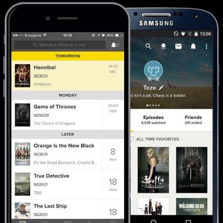 TVShow Time, applicazione per guardare tutte le migliori Serie TV, per Android e iPhone.