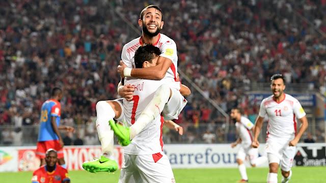 Túnez festeja uno de sus goles en su victoria sobre la RD Congo en la eliminatoria África Rusia 2018