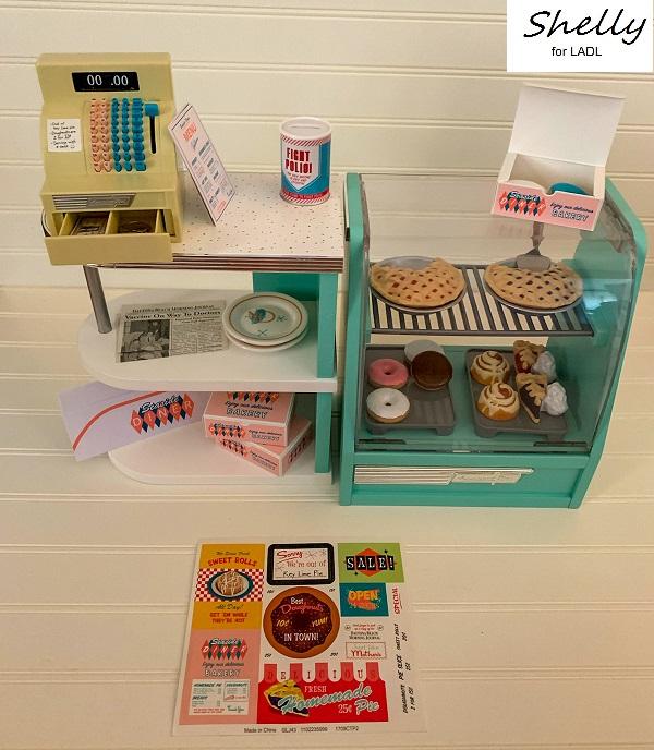American Girl Maryellen Diner Bakery~Menu~Newspaper~Bakery Box~Counter Stickers