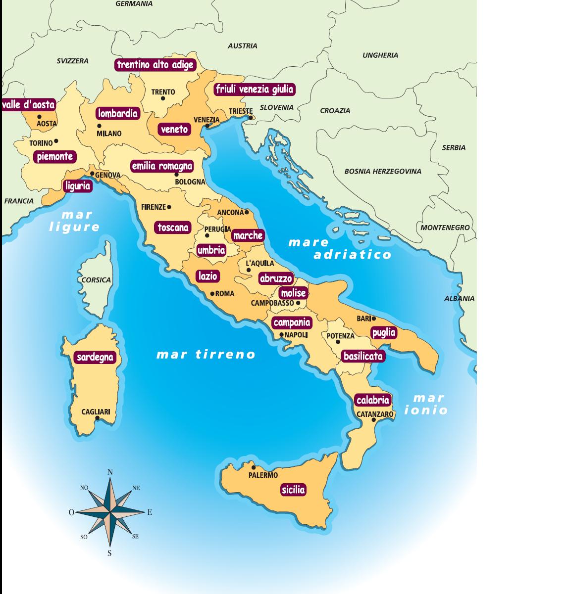 Cartina Italia Con Regioni E Capoluoghi.Ciao Italia Le Regioni E I Capoluoghi Italiani