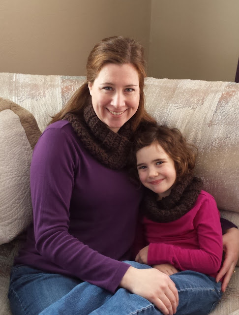 Rachel and Adelaide wearing matching cowls
