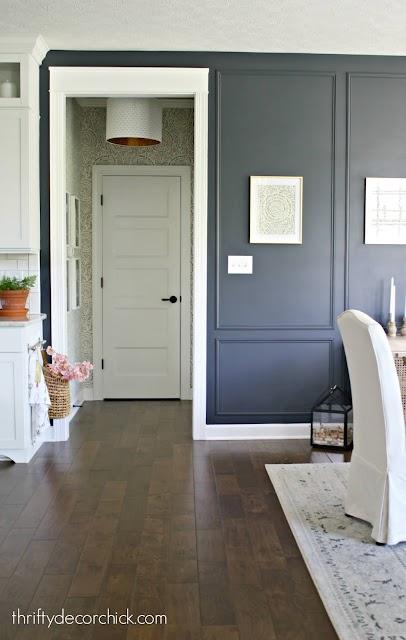 dark blue walls large trim boxes