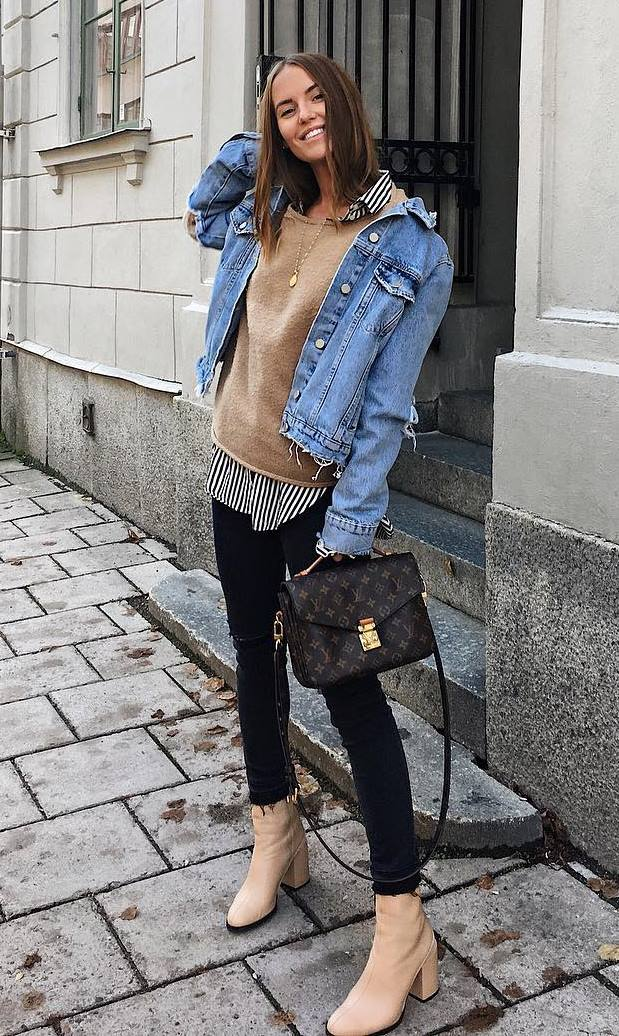 great fall outfit / denim jacket + nude sweater + striped shirt + bag + beige boots + black jeans