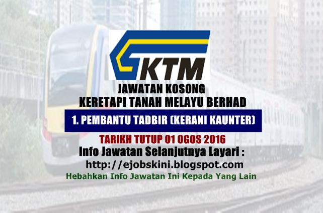 Jawatan Kosong Terkini di KTMB ogos 2016