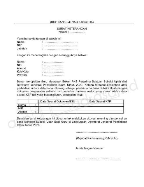 Surat Keterangan Beda Biodata