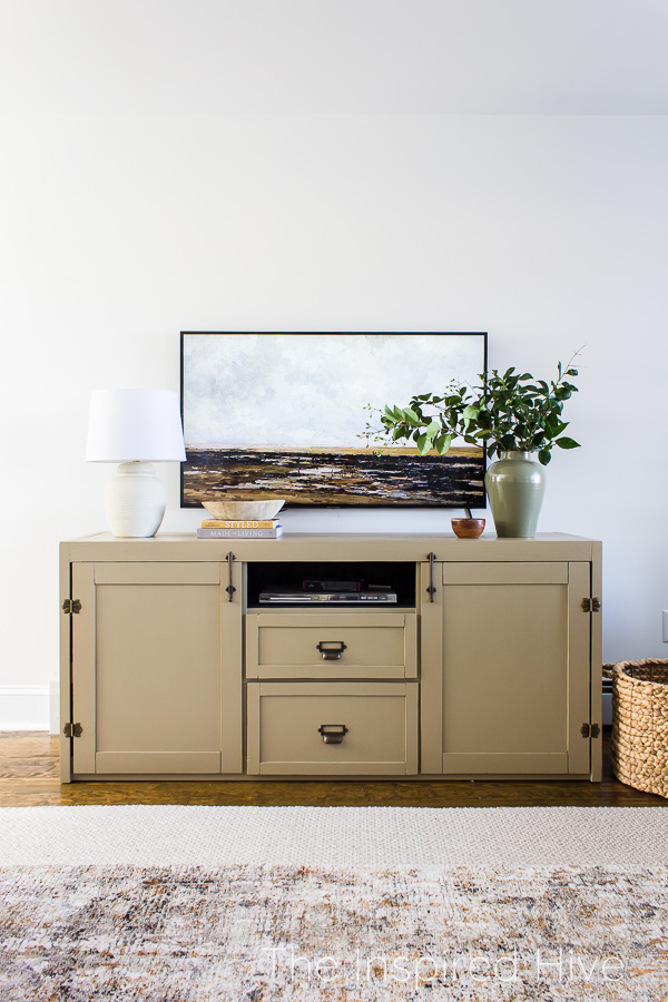 Painted entertainment center and art TV