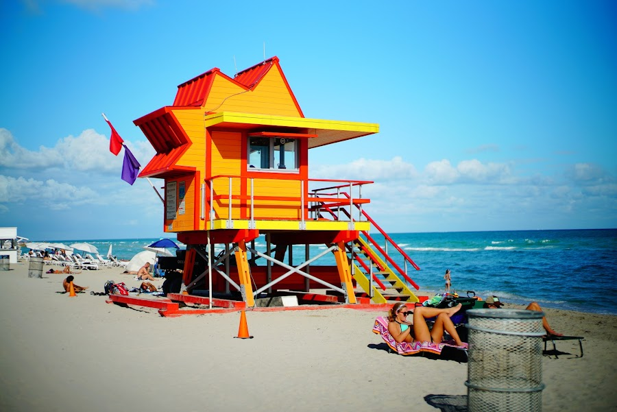 Colorful baywatch towers in South Beach Miami