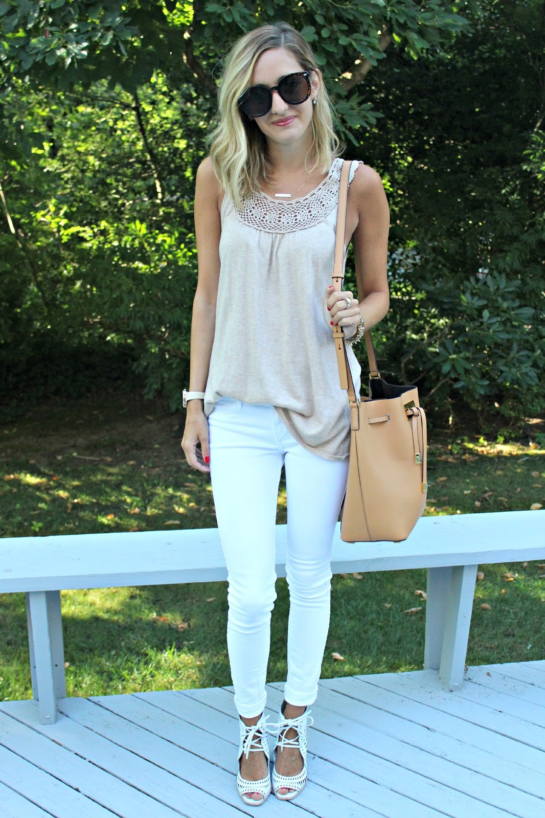 beige and white outfit
