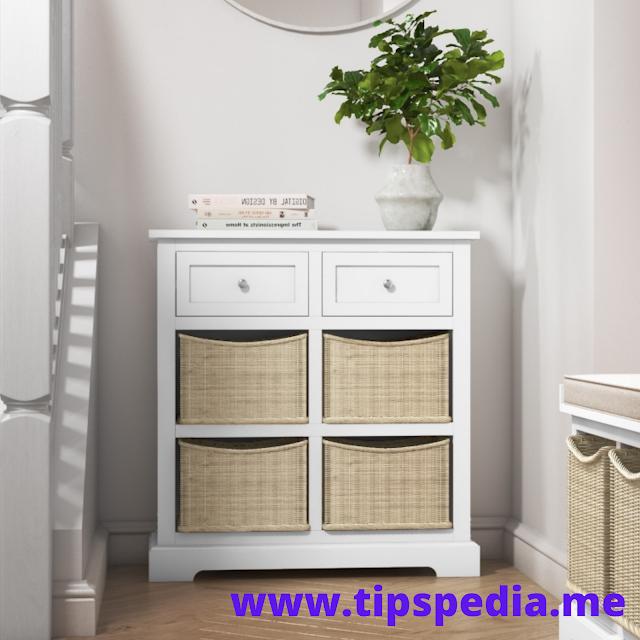 Wicker Bathroom Floor Cabinet